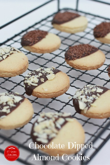 Chocolate Dipped Almond Cookies - ET Speaks From Home