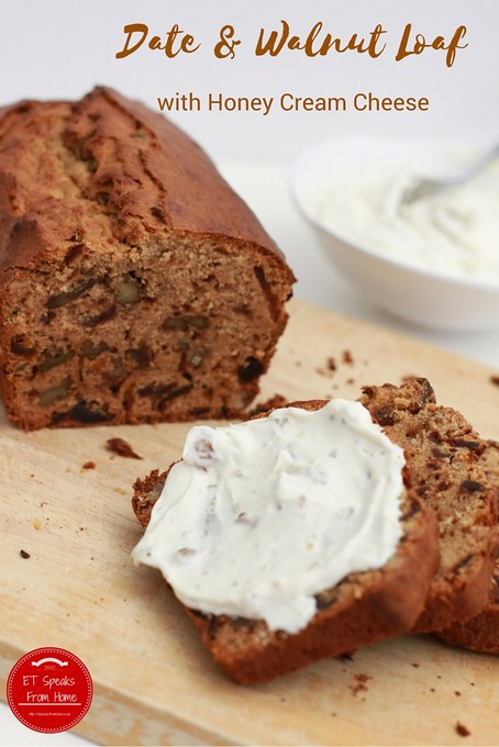 date & walnut loaf with honey cream cheese